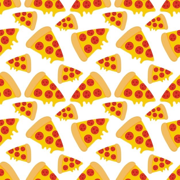 Pizza food seamless pattern Premium Vector