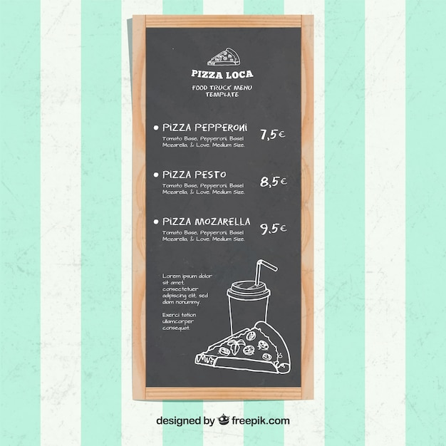 Pizza food truck menu on the blackboard