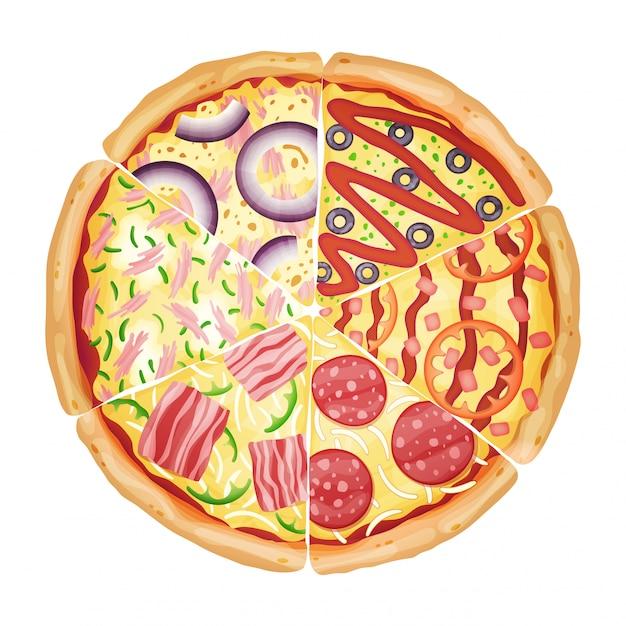 Пицца от различных кусочков вид сверху, изолированные на белом фотореалистичные векторные иллюстрации. Premium векторы
