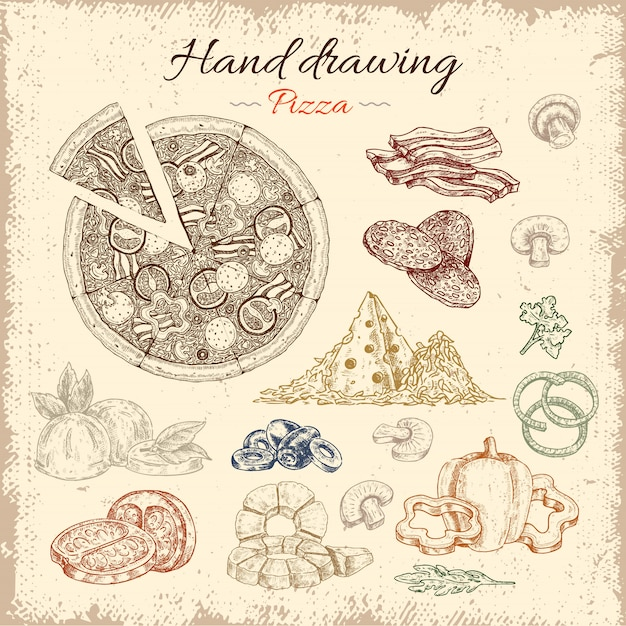 Pizza hand drawn elements set Free Vector