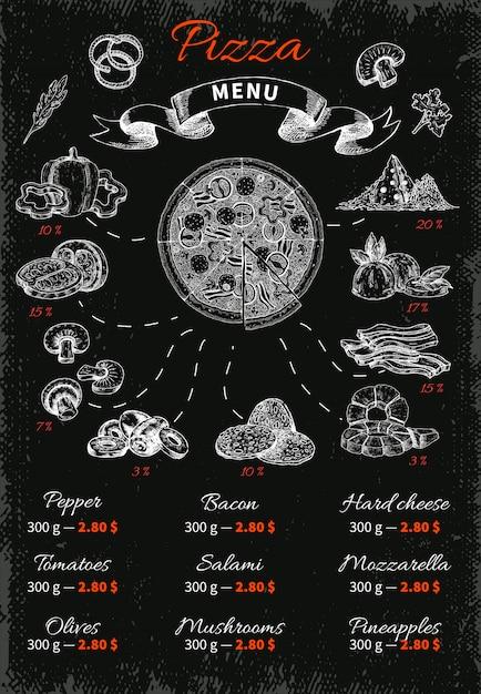 Пицца рисованное меню Бесплатные векторы