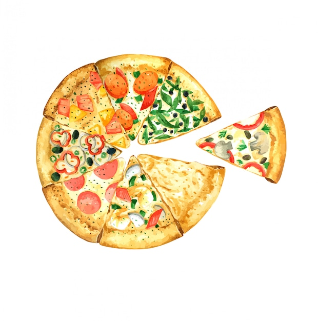 Pizza hand drawn watercolor element for design Premium Vector