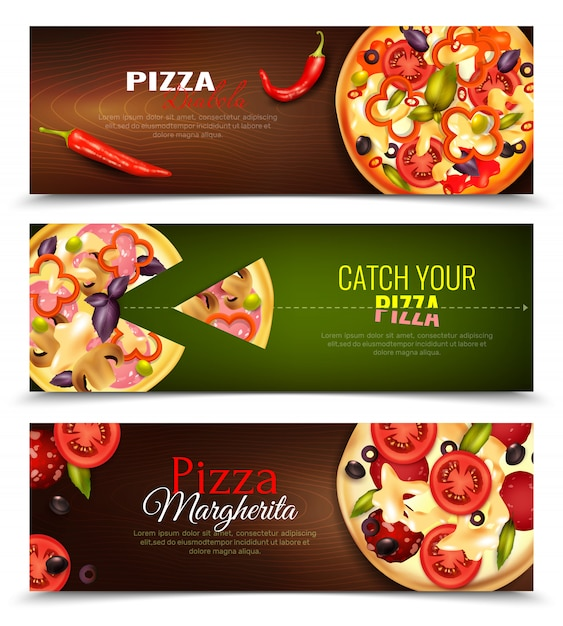 Pizza horizontal banners set Free Vector