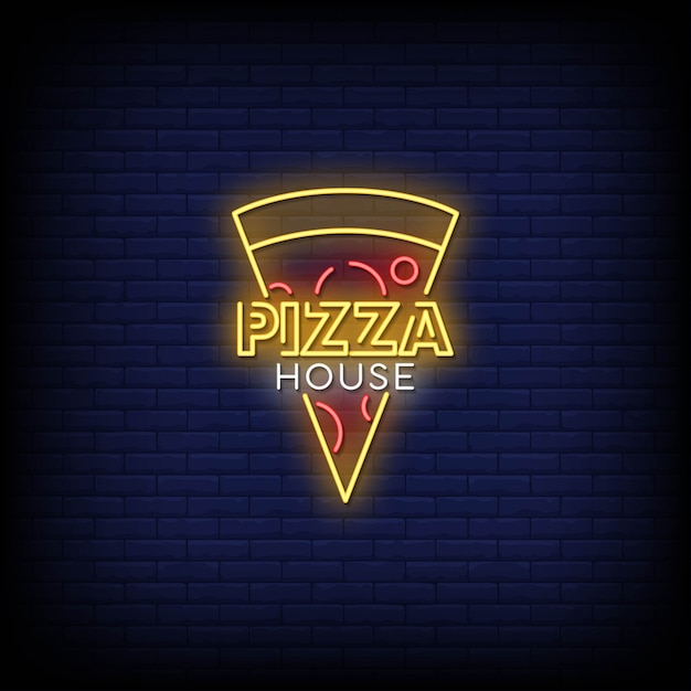 Pizza house neon signs style text Premium Vector