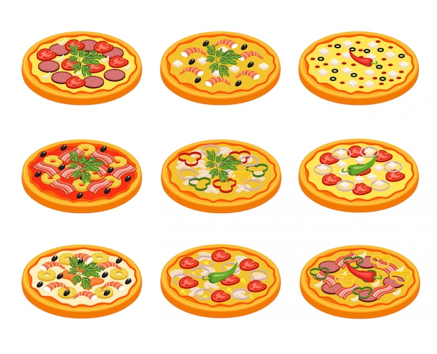 Pizza icons set Free Vector