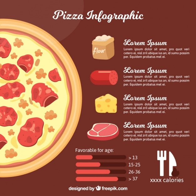 pizza infographic template with different ingredients vector free