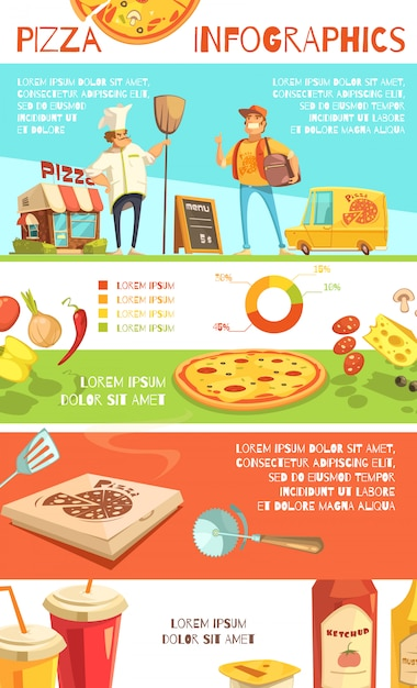 Pizza infographics flat layout with information about pizza ingredients Free Vector