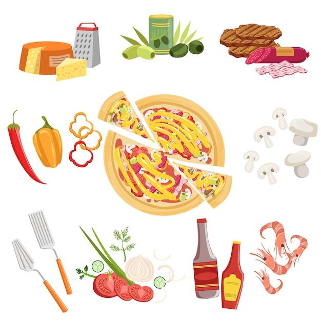 Набор ингредиентов для приготовления пиццы и посуды Premium векторы
