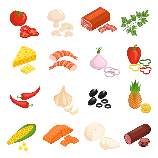 Pizza ingredients icons set Free Vector