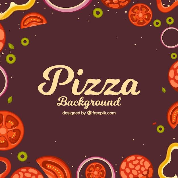 Pizza ingredients retro background