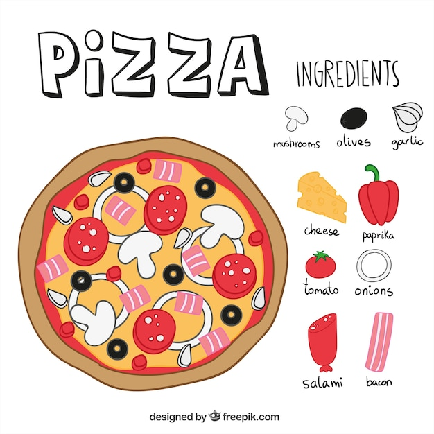 pizza ingredients vector free download Pizza Toppings Template Pizza Illustration