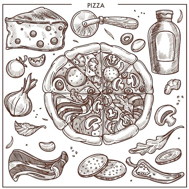 Pizza ingredients Premium Vector
