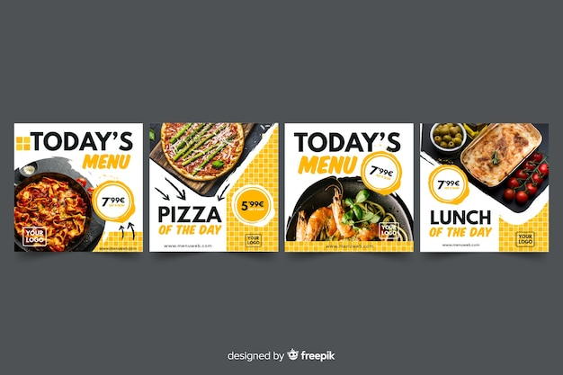 Pizza instagram post collection with photo Free Vector