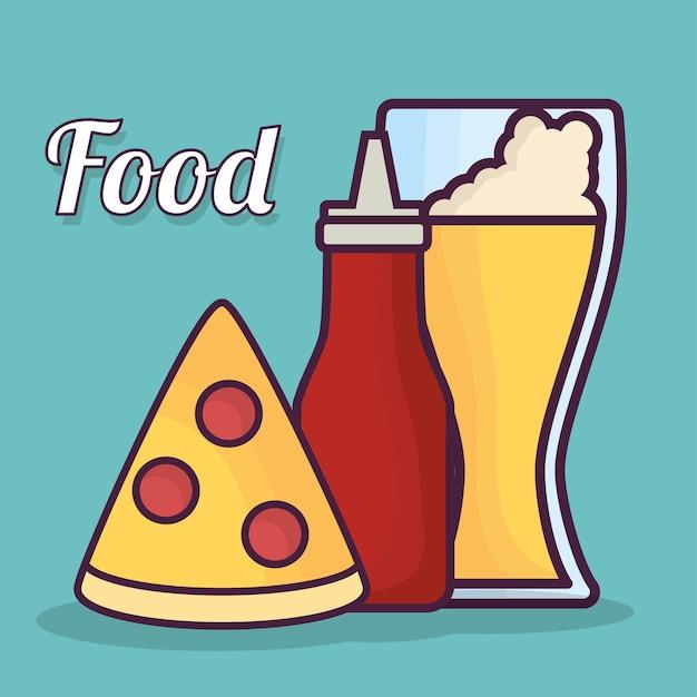 ピザケチャップのボトルとビールのアイコン Premiumベクター