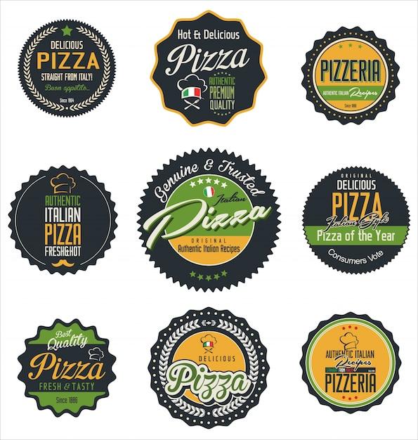 Pizza labels Premium Vector