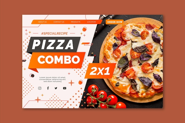Pizza landing page template Free Vector