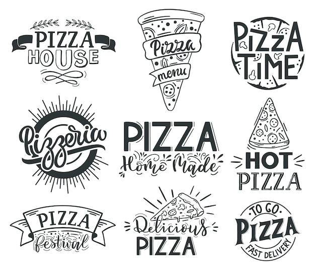 Цитаты надписи пиццы. итальянская пицца, цитаты с надписью фаст-фуд, этикетки для пиццы Premium векторы