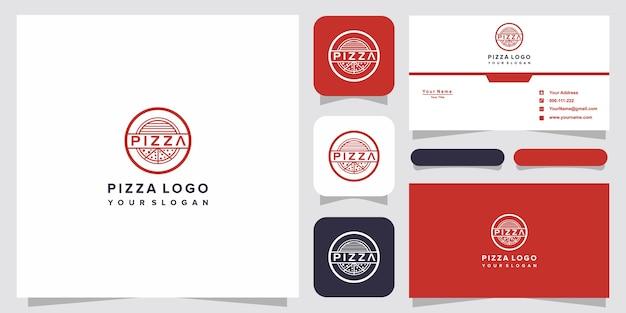 ピザショップのピザロゴテンプレートデザイン Premiumベクター