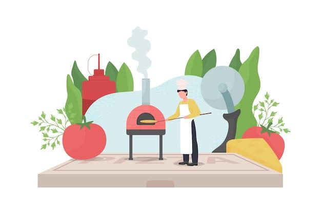 Иллюстрация плоской концепции производителя пиццы Premium векторы