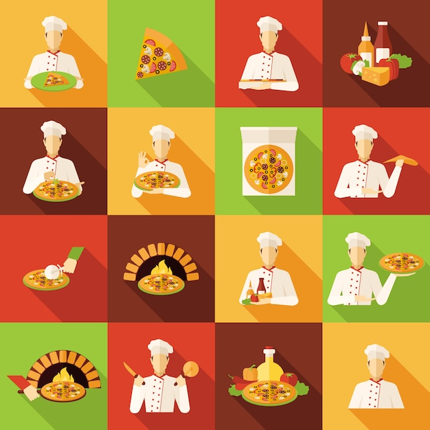 Pizza makers flat icons set Free Vector
