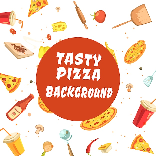 Pizza making set seamless pattern with white inscription Free Vector