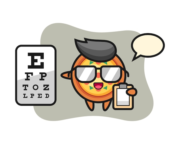 Pizza mascot as a ophthalmology Premium Vector