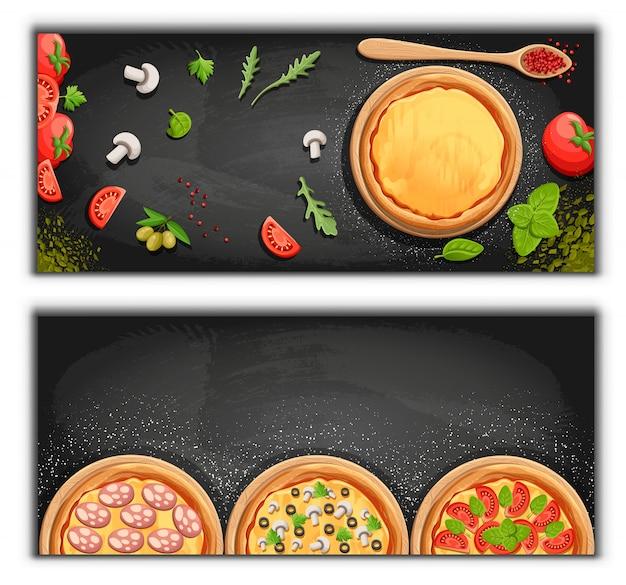 Предпосылка шаржа доски меню пиццы с иллюстрацией свежих ингредиентов предпосылка флаера пиццерии. два горизонтальных баннера с текстом ингредиентов на деревянных фоне и доске. Premium векторы