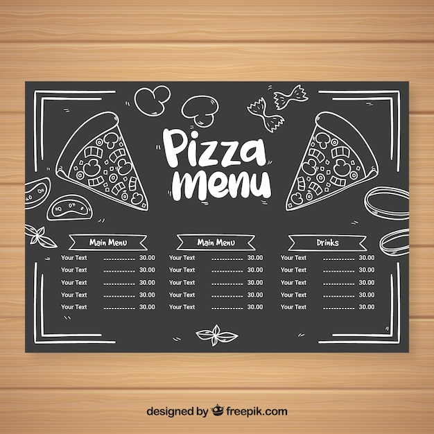 Pizza menu in chalk style Free Vector