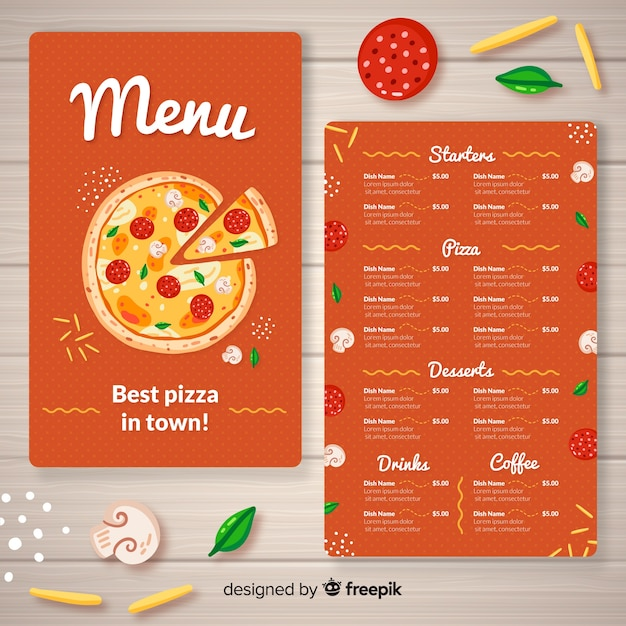 Pizza menu template Free Vector