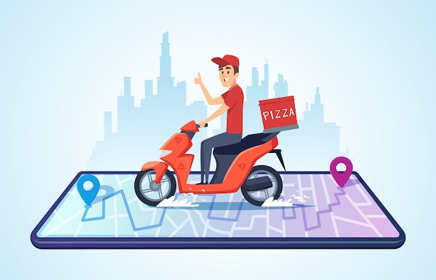 Pizza motorbike delivery. urban landscape with food courier driving bike fast delivery Premium Vector