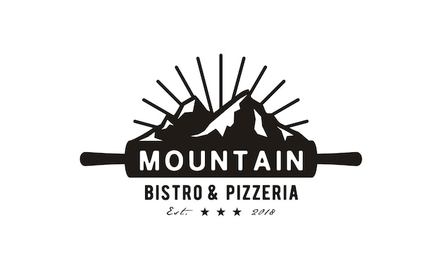 Pizza mountain logo design Premium Vector