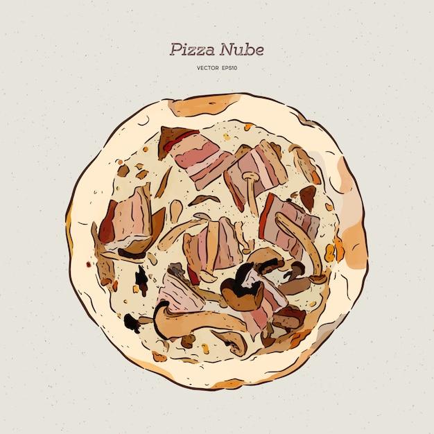 Пицца нуб, бекон и грибная пицца. Premium векторы