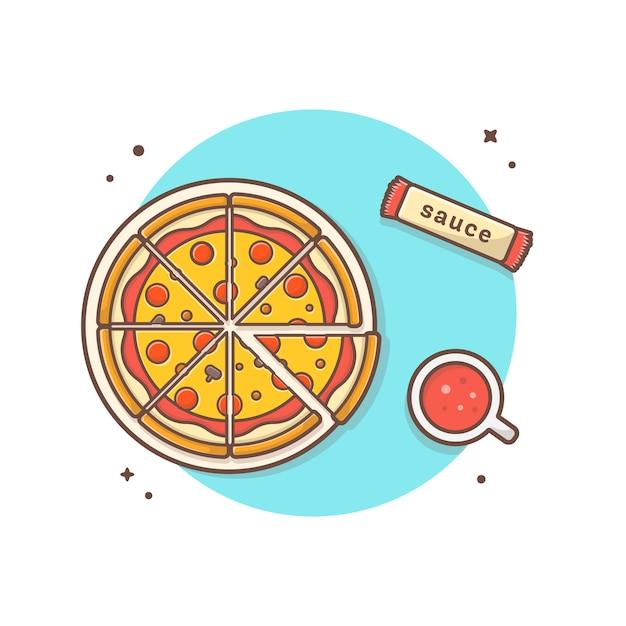ソーダとソースベクトルアイコンイラストプレート上のピザ。トップアングルビュー。食べ物や飲み物のアイコンコンセプトホワイト分離 Premiumベクター