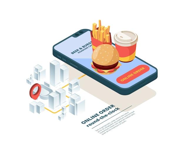 オンラインでピザを注文します。スマートフォン画面ファーストフード写真モバイルアプリインターネットショッピング注文ジャンクフードファストデリバリー等尺性。注文配送サービス食品、オンライン輸送イラスト Premiumベクター
