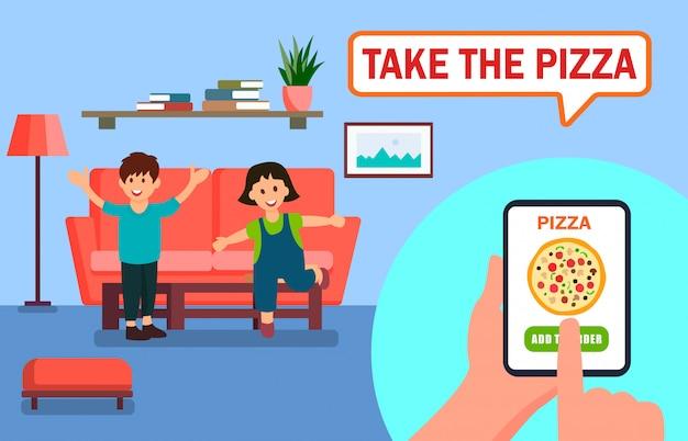 Pizza ordering online app vector illustration Premium Vector