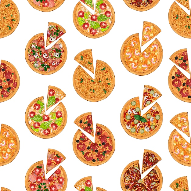 Pizza pattern Premium Vector