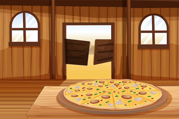 A pizza pie in the table Free Vector