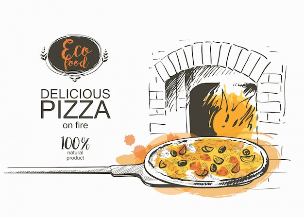 Pizza ready to bake in the oven vector illustration Premium Vector
