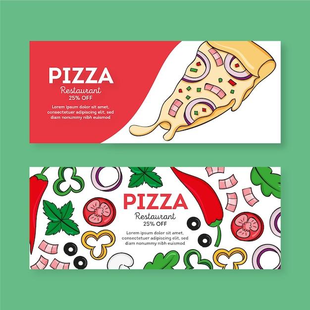 Pizza restaurant banner set template Free Vector