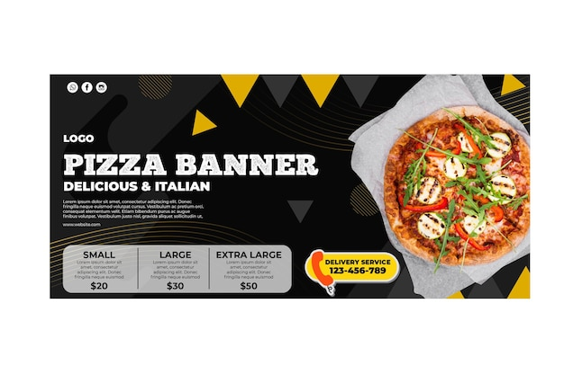 Pizza restaurant banner template Free Vector