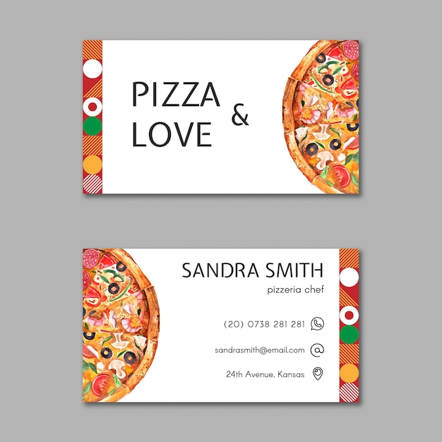 Pizza restaurant business card template Free Vector
