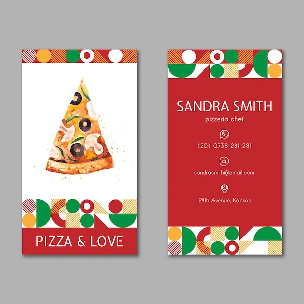 Pizza restaurant business card Free Vector