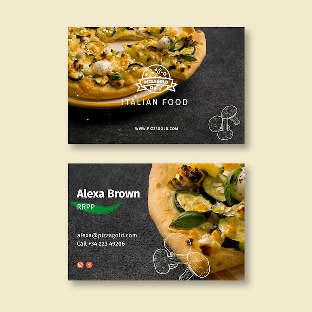 Pizza restaurant double sided business card Premium Vector