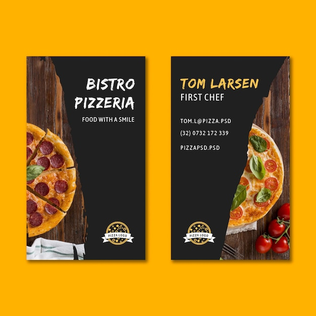 Pizza restaurant double-sided business card Premium Vector