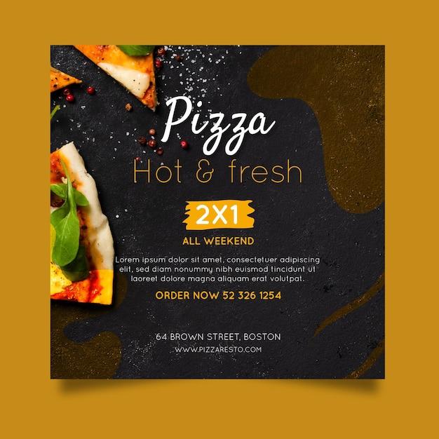 Pizza restaurant flyer square Premium Vector