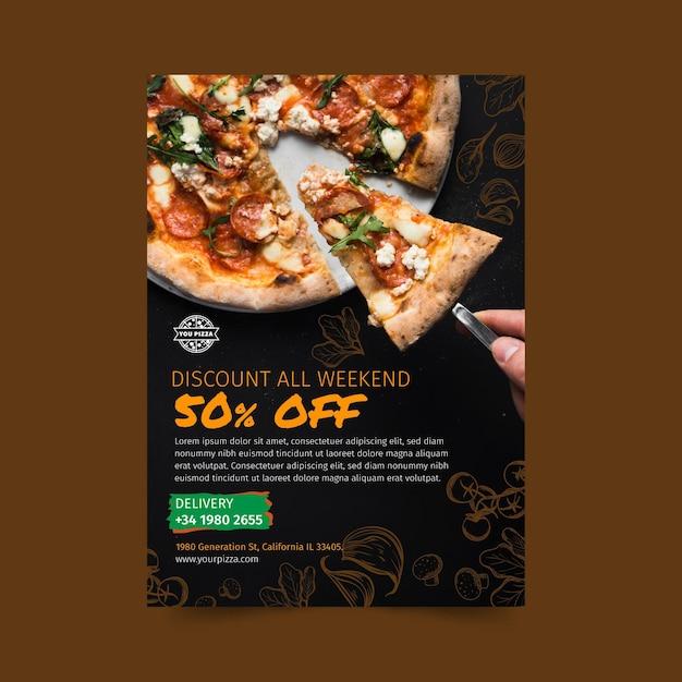 Pizza restaurant flyer vertical Premium Vector
