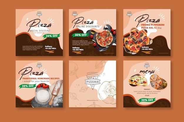 Pizza restaurant instagram posts Premium Vector