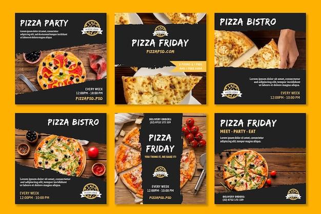 Pizza restaurant instagram posts Free Vector