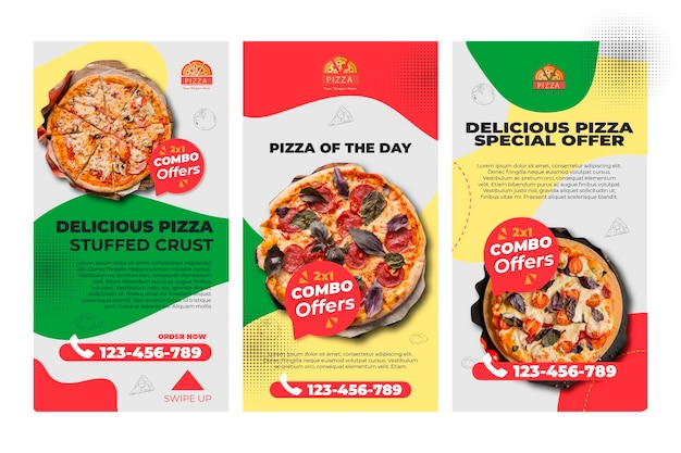 Pizza restaurant instagram stories template Free Vector
