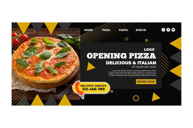 Pizza restaurant landing page template Free Vector